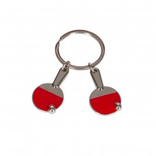 Two red rackets metal keychain
